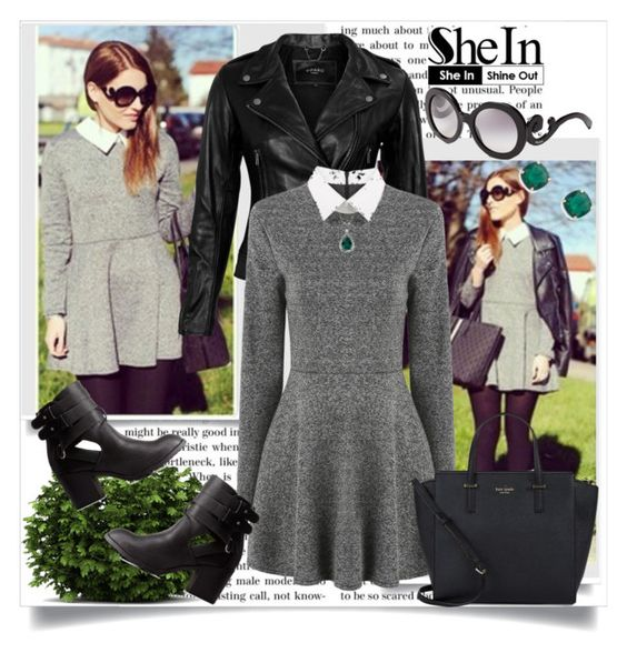 """""""SHEIN: Grey Long Sleeve Dress"""" by elma-a ❤ liked on Polyvore featuring мода, VIPARO, Charlotte Russe, Kate Spade и Prada"""