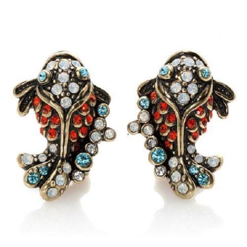 NEW-HEIDI-DAUS-Adorable-KOI-FISH-CRITTER-Crystal-CLIP-Earrings-NIB