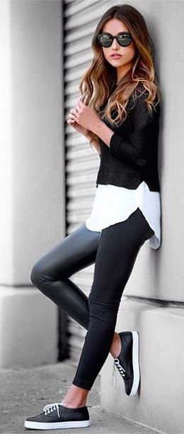 Black skinnies, over sized shirt, cropped jumper
