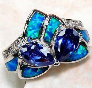 Blue Sapphire & Australian Opal White Topaz 925 Solid Sterling Silver Ring Sz 7