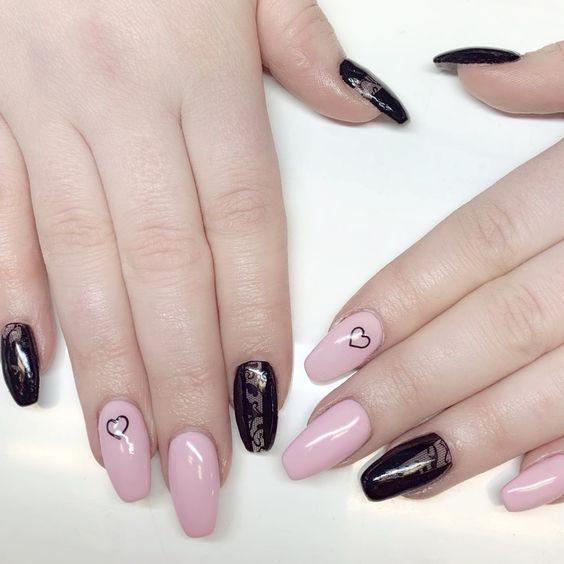 NAIL ART DESIGNS PINK AND BLACK HEART LACE SHANE_GLOSSSOCIETY ON INSTAGRAM