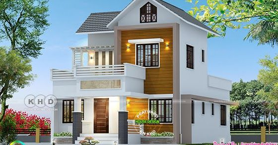 1180 Square Feet 4 Bedroom Cute Double Storied Home Kerala House Design House Roof Design Unique House Design