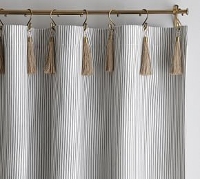 Riviera Stripe Blackout Curtain Navy With Images Ticking Stripe Curtains Tassel Curtains Striped Curtains