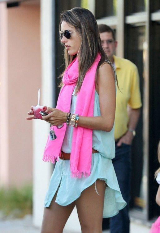 Shirt dress & summer scarf: