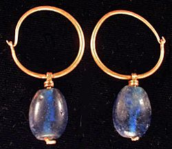 """Byzantine gold and glass bead earrings, circa 700AD  Photo courtesy www.ancienttouch.com""  http://ancientrevival.com/html/gallery.html#ajtop:"