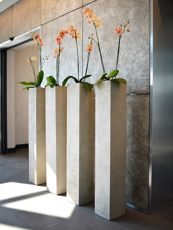 Orchids in tall narrow planters decor everyday mood for Tall narrow house plants