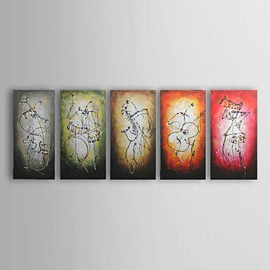 Pintura a Óleo Pintada à Mão com Moldura Esticada (Conjunto de 5) – EUR € 170.99