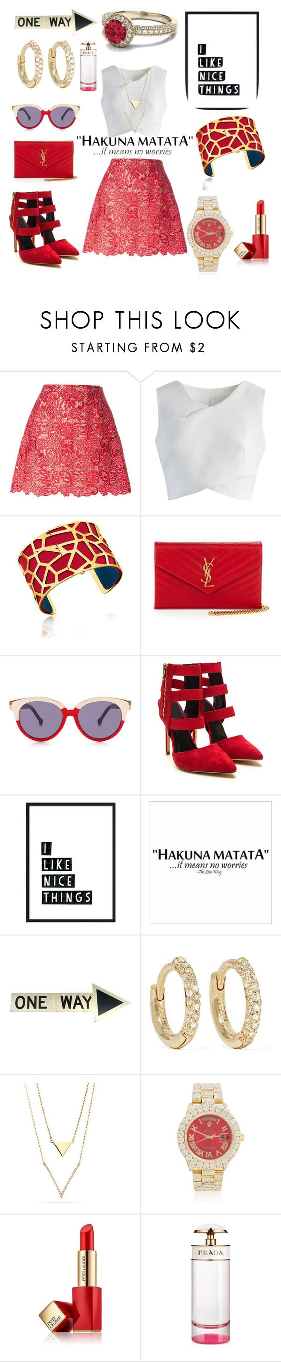 """Goldy Locks"" by michaelmartin714 ❤ liked on Polyvore featuring Marco de Vincenzo, Chicwish, Les Georgettes, Yves Saint Laurent, Preen, Jennifer Meyer Jewelry, Rolex, Estée Lauder and Prada"