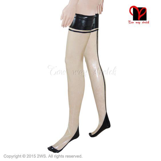 Sexy Latex Rubber Stocking Fetish Bondage long Glam Knee Leg feet erotic tights Thigh High Women Socks Ladies Stocks Rock heels