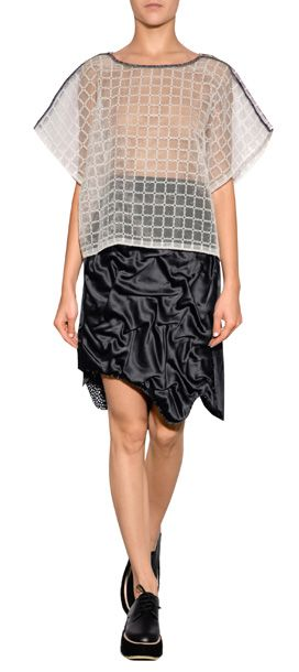 Edgy with a feminine twist, Julien David's boxy top fuses a cool modern cut with pretty eyelet patterning #Stylebop