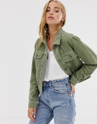 Pull Bear Cord Western Jacket In Green Jacket Outfit Women Green Jacket Outfit Green Denim Jacket