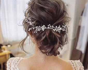 Extra Long Hair Vine,Bridal Hair Vine,Wedding Hair Vine,Crystal Hair Peice,Pearl Hair Vine,Bridal Jewelry,Hair vine.Wedding vine.rose gold