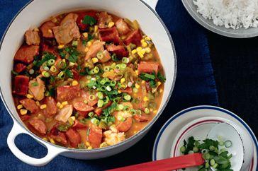 """""""Chicken & chorizo gumbo""""  <3 This Louisiana favourite stars tender chicken, smoky chorizo and fresh corn."""