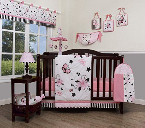 GEENNY Boutique kid 13 Piece Nursery Crib Bedding Set, New Pink Butterfly