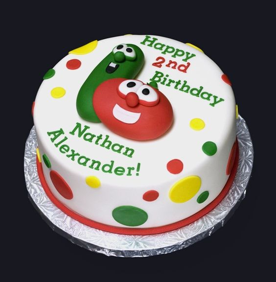 I seriously wish I could do this, but I think Kara will get stuck with an edible Veggie Tales photo slapped on her cake. That's about as crafty as I get.