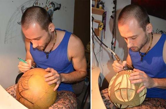 7.) A carved gourd can make a pretty bomb lamp.