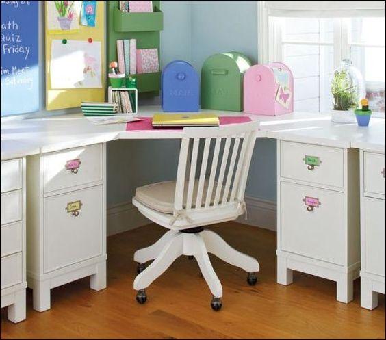 Kids Bedroom Desk: Kids Room, Corner Study Desk In White Color Looks So Cute