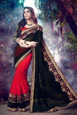 image of Designer Black-Red Color Embroidered Chiffon-Georgette Saree