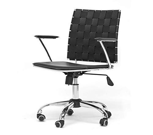 Baxton Studio Black Leather Modern Office Chair Decor Comfy Living