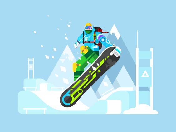 Cartoon character snowboarder. Sport athlete, snowboarding design, move and jump, flat vector illustrationVector files, fully editable.