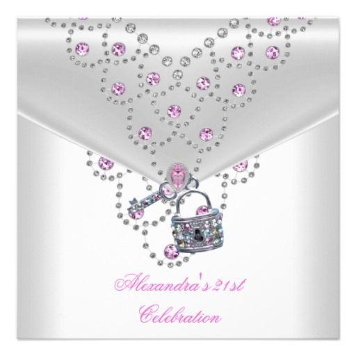 21st Birthday Party Pretty Pink Jewel Key Lock Custom Invitation