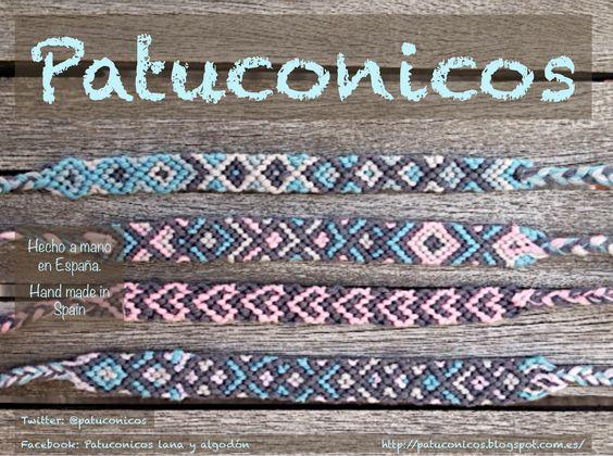 Pulseras Patuconicos Friendship bracelets Hechas a mano en España con nudos de macramé. hand made in Spain friendship bracelets