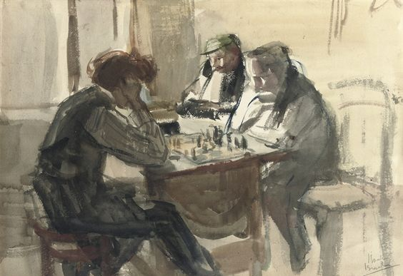 Isaac Israëls, The Chess Players, between 1875 and 1922.