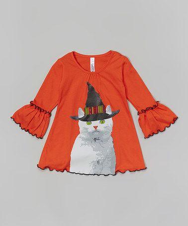 Loving this Orange Cat Appliqué Lettuce-Edge Tunic - Toddler & Girls on #zulily! #zulilyfinds
