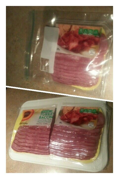 So smart!  Cut bacon in half with a knife then it will fit in a bag! It will also cook up easier and faster