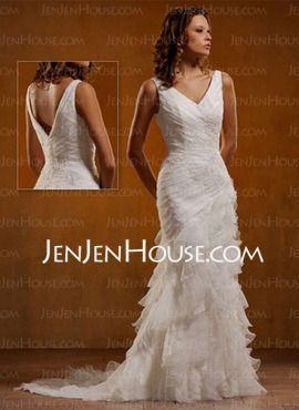 Sheath/Column V-neck Chapel Train Organza  Satin Wedding Dresses With Ruffle  Lace  Beadwork (002000398)