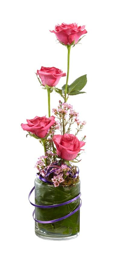 roses and waxflower arrangement: