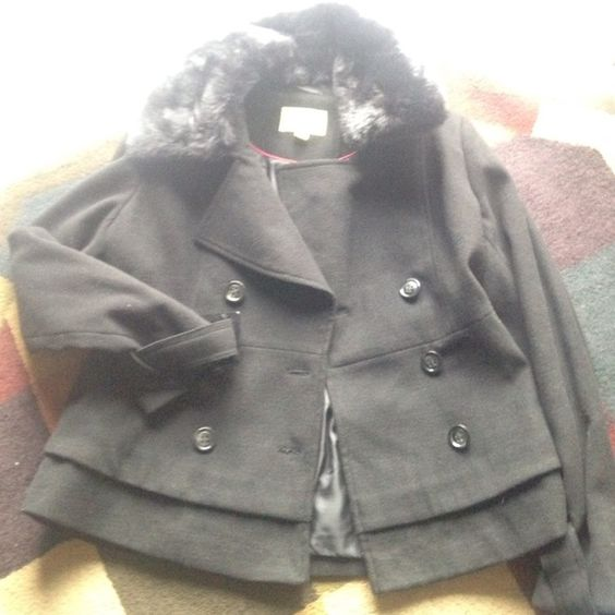 Black pea coat w/ buckles, fur, buttons, layers Never worn! Super ...
