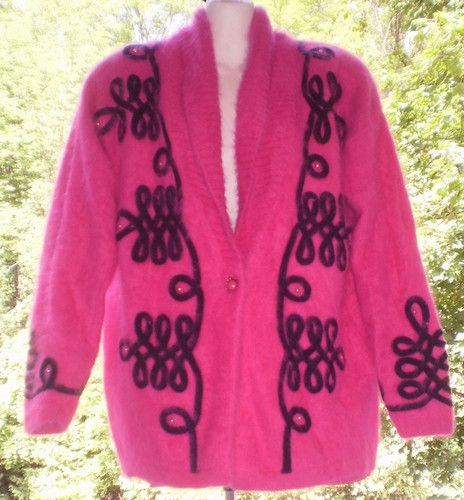 Fluffy Furry 80 Angora Fuschia Pink M Cardigan Sweater Jacket Soft | eBay
