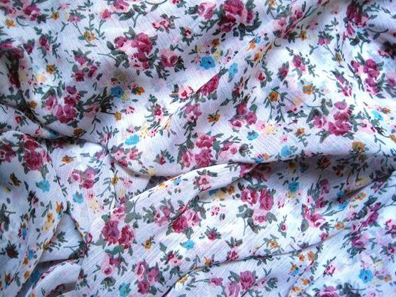 Chiffon Floral Fabric Fat Quarter Muticolor by PrimroseLaceRibbon, $3.75