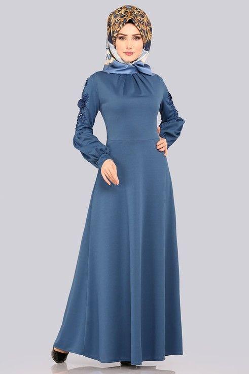 Modaselvim Elbise Kolu Gupurlu Elbise 5483mp186 Indigo Elbise The Dress Elbiseler