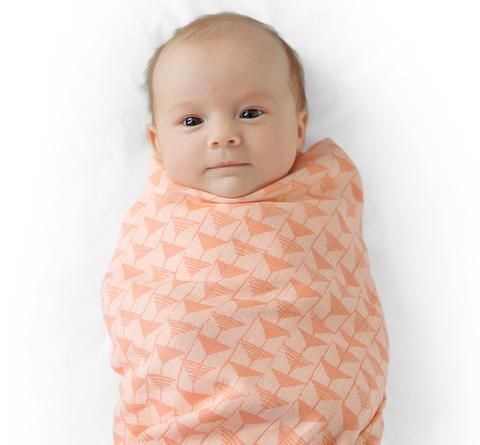 muslin swaddles [triangle & rose red]