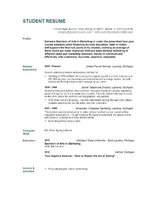 Nursing School Resume Template Student Resume Template Job