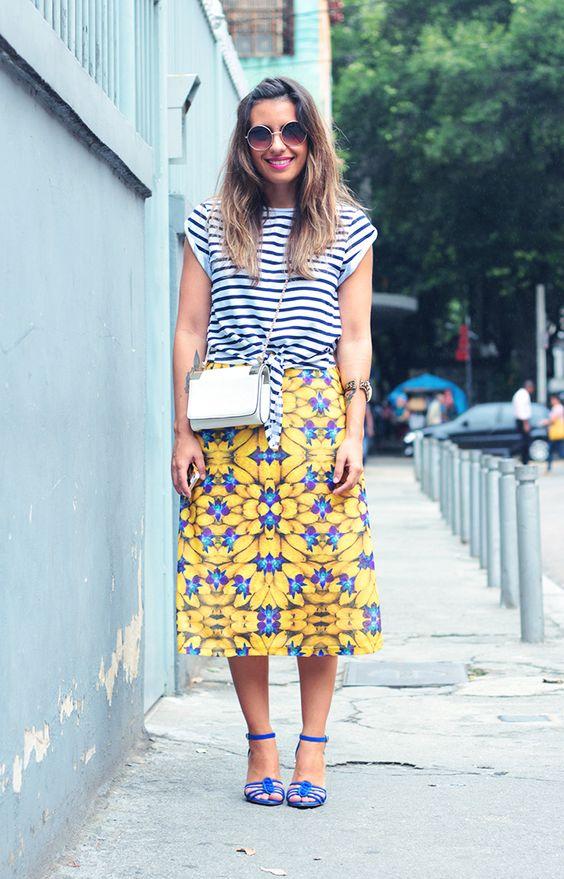 Stripe Tee Yellow Skirt