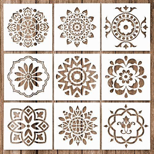 Whaline 9 Pack Mandala Stencils Tiles Template Set Reusab Https Www Amazon Com Dp B07k2nbbw1 Ref Cm Sw Stencil Wall Art Stencil Painting Mandala Stencils