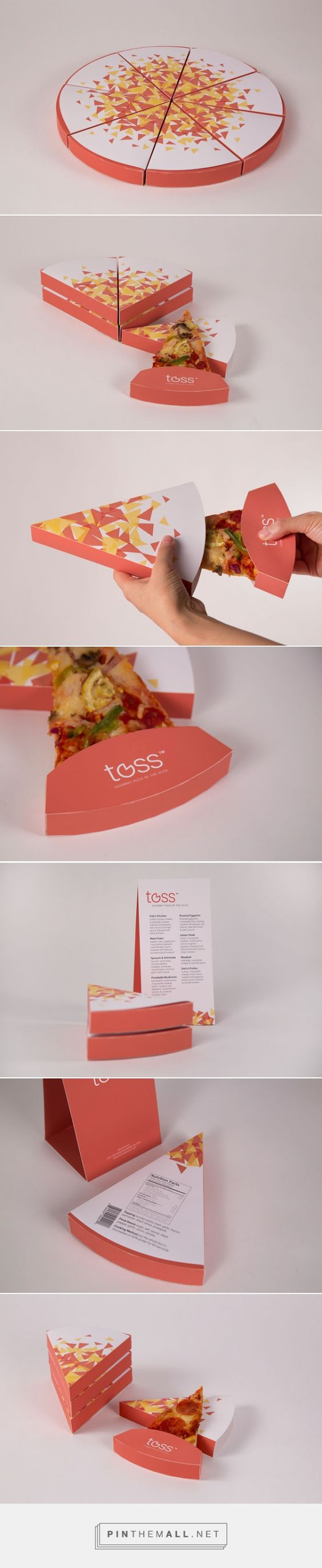 Toss - Gourmet Pizza packaging By The Slice designed by Yinan Wang. 2015 top team packaging pin PD