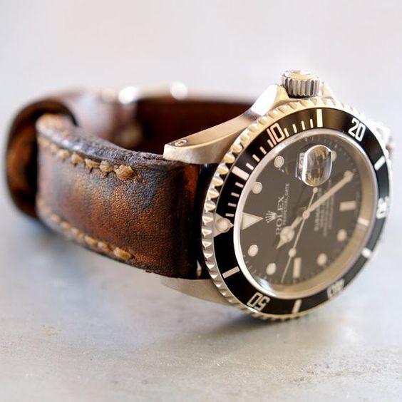 Vintage leather on Rolex