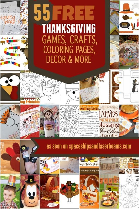 55 Free Thanksgiving Games Crafts Coloring Pages Decor