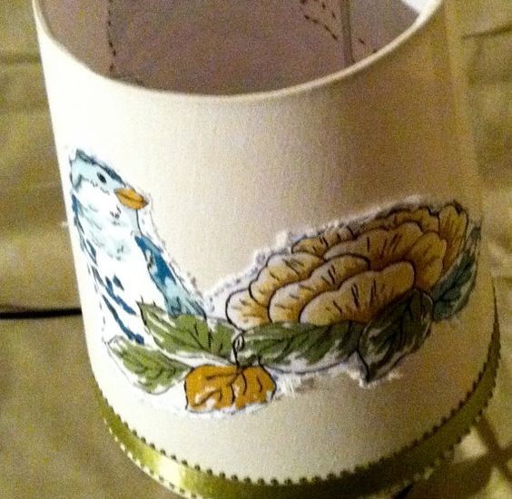 Hand Embroidered Blue Bird and Flower Lamp by Reincarnation LLC, $26.00