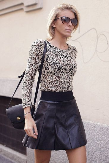 Milan-Fashion-Week-Street Fitted lace top   flared leather skirt ...