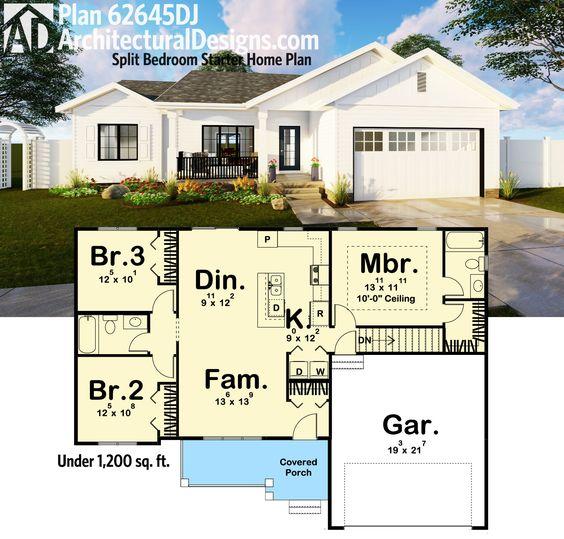 Plan 62645dj split bedroom starter home plan screened for Starter home floor plans