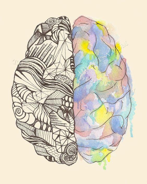 Brain Hemispheres Neurology MBTI Myers Briggs Duality Neuroscience Science Art Psych Psychology Psychiatry Ink Print