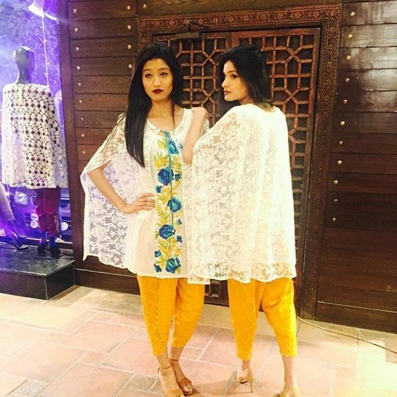 Stitching Styles Of Pakistani Dresses White Net Cape Style