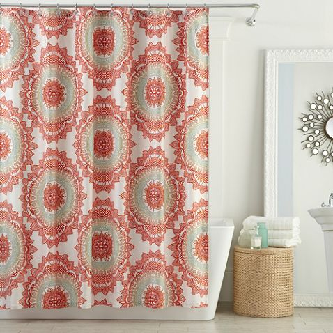 Transform any bathroom into a bohemian oasis with this Anthology Bungalow shower curtain. Soft shades of aqua blue and coral bring the medallion design to life.