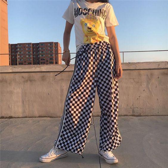 itGirl Shop CHECKER GRID BLACK WHITE OVERSIVED SPORTISH GRUNGE PANTS Aesthetic Apparel, Tumblr Clothes, Soft Grunge, Pastel goth, Harajuku fashion. Korean and Japan Style looks
