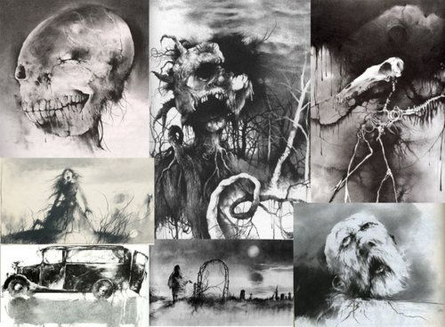 """Illustrations from the """"Scary Stories"""" series. @Grace Hammond"""